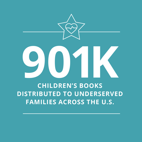 900,000 Children's Books distributed to underserved U.S. Communities